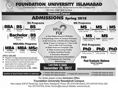 Evening Mba Programs In Islamabad by Admissions Open At Foundation Islamabad