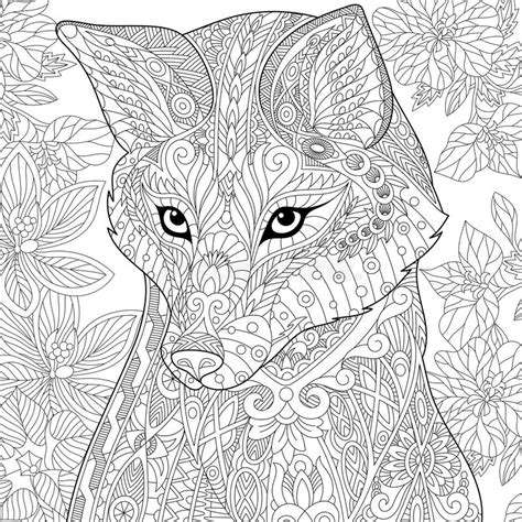 zentangle stylized fox stock vector illustration of eyes
