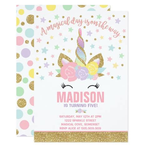 printable birthday cards unicorn rainbow unicorn birthday invitation pink gold on the best