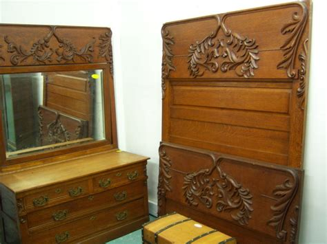 Oak Bedroom Dresser Oak Bedroom Set High Back Bed Dresser W Mirror Washstand Heavy From Robertsantiques On Ruby