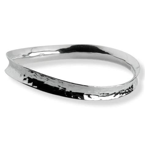 Handcrafted Bangles - sterling silver bangle with hammered finish by tiangus jackson