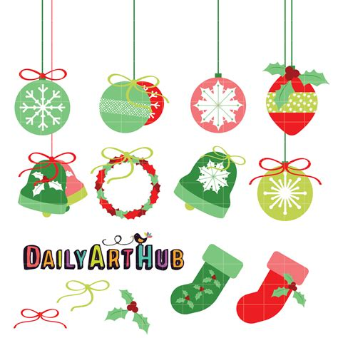 christmas decorations clip art set daily art hub