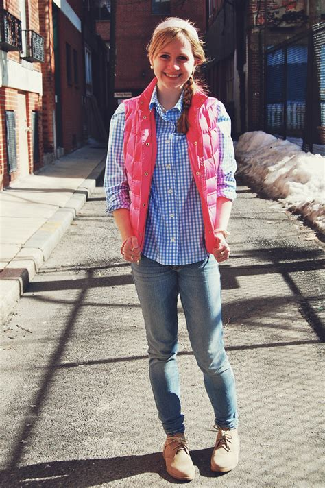 Opa Gingham Style lilly pulitzer pink puffer vest