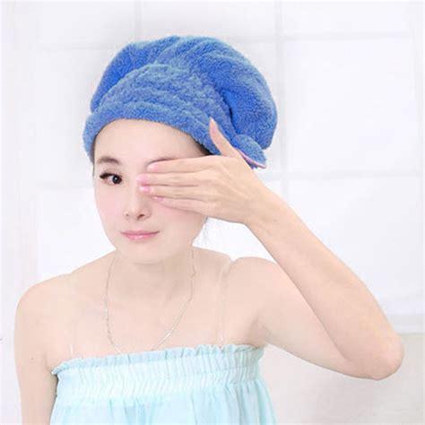 Hair Turban Microfiber 1 fast microfiber bowknot hair towel turban wrap bath cap absorbent
