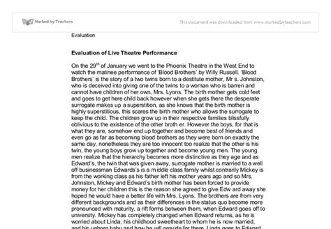 Acting Essays by How To Write A Drama Performance Evaluation