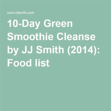 10 Day The Ultimate Detox Plan By Jj Smith by The 25 Best Jj Smith Green Smoothie Ideas On