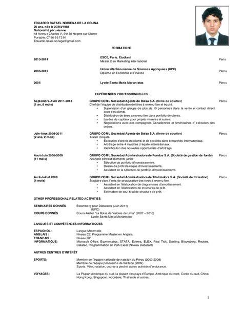 Cv Format Francais by Cv En Francais Cv Modele Jaoloron