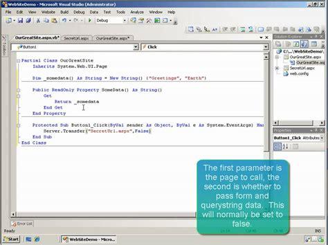 tutorial web net mask the address bar url for a web site in asp net 3 5