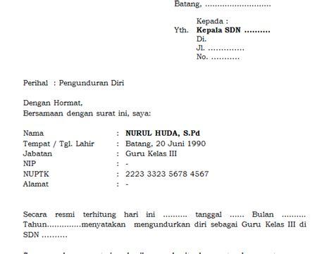contoh surat pengunduran diri kerja format word contoh surat pengunduran diri guru dari sekolah format