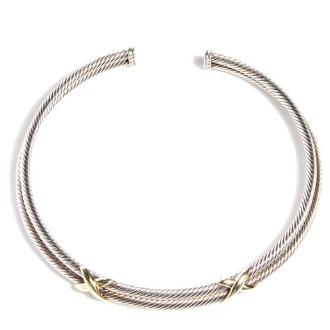 Choker Penta Gold Rings Choker david yurman sterling silver 14k gold x choker necklace 91722