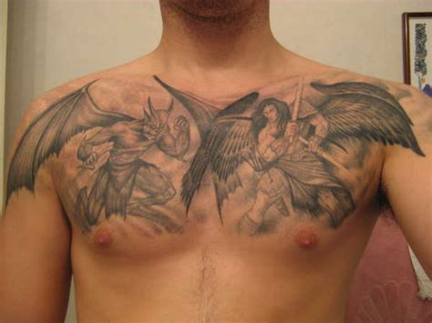 angel tattoo chest piece demon vs angel chest piece tattoo for men tattooshunt com