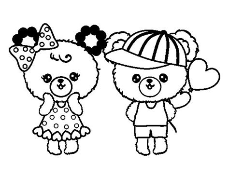 imagenes de kawaii para colorear dibujo de ositos kawaii enamorados para colorear dibujos net