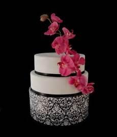 Fondant Wedding Cake Black White Pink Damask Orchid