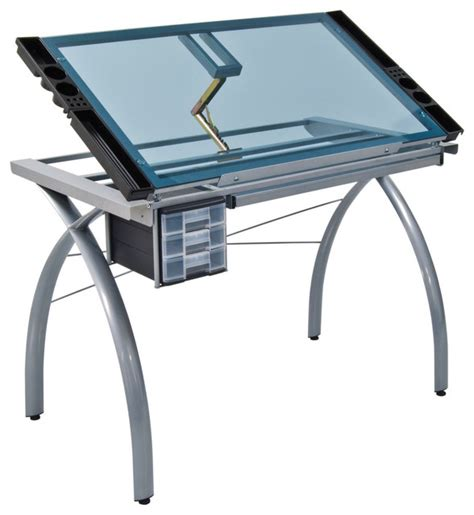 modern drafting table futura craft station silver and blue glass modern drafting tables by studio designs