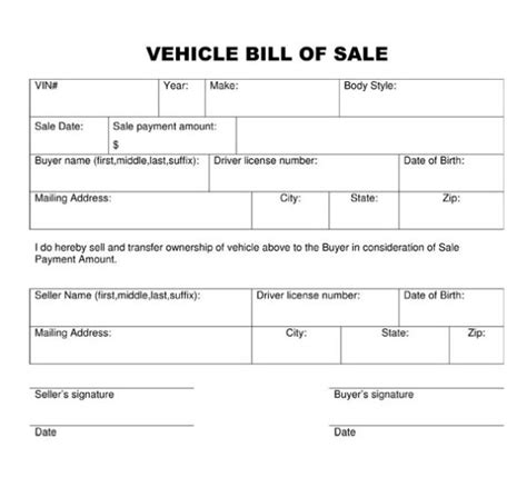 bill of sale template for car vehicle bill of sale form template sle calendar