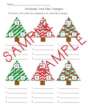 the christmas tree math problem tree fact triangles by engaging and educating tpt