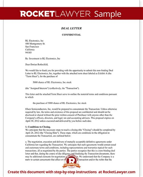 Letter Of Intent Sle Business Deal Business Deal Letter Template With Sle