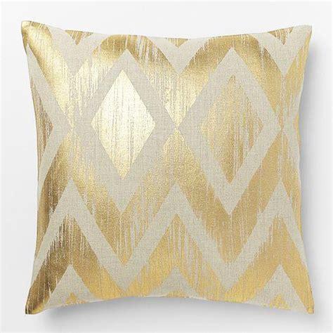 gold sofa pillows metallic chevron pillow cover gold west elm