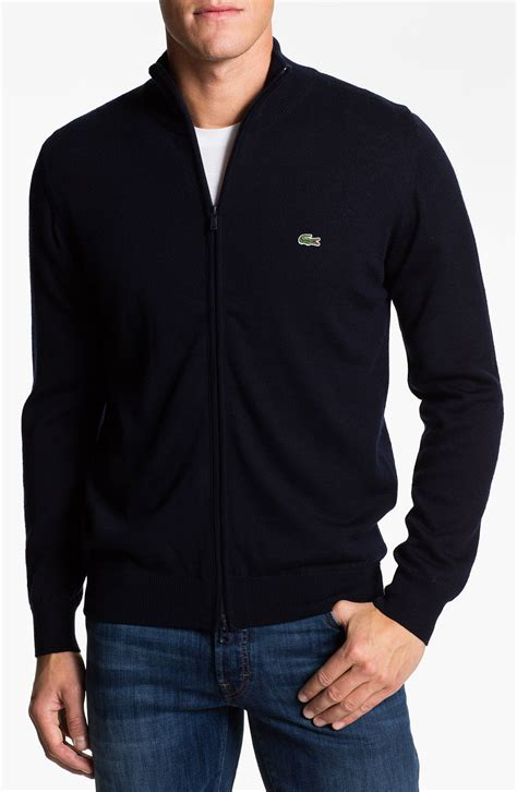 lacoste mock neck lambswool sweater in blue for navy
