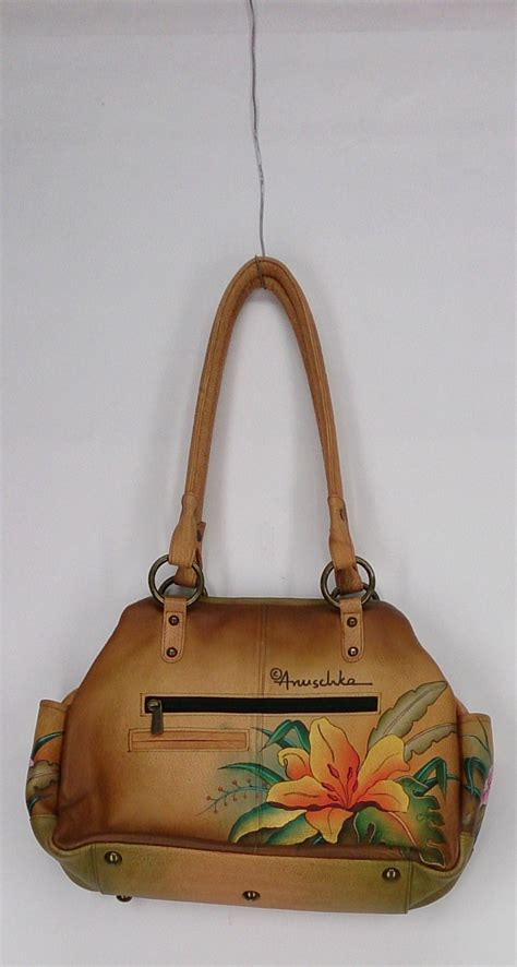 painted leather handbags anuschka sz large painted leather tote w multi compartments brown handbag