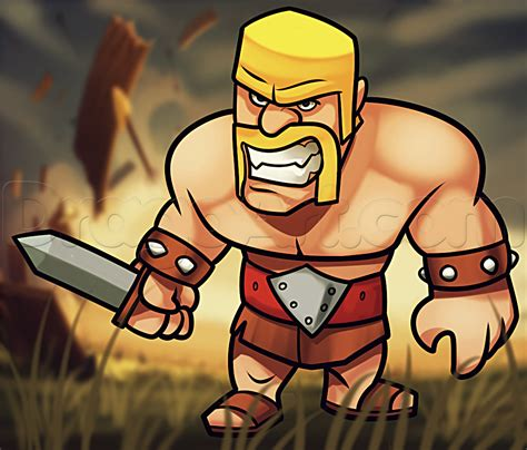 How To Search On Clash Of Clans How To Draw Clash Of Clans Barbarian How To Draw Barbarian Batman