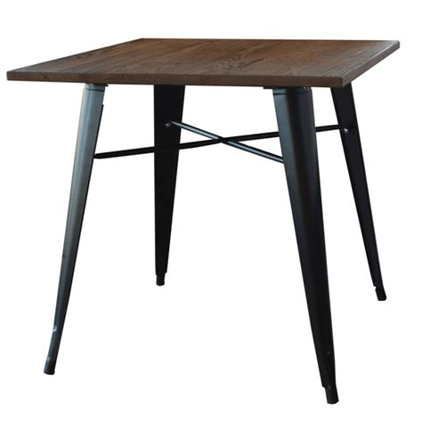 Tolix Dining Table Smokey Black Finish Tolix Elm Wood Dining Table 30 Tablebasedepot
