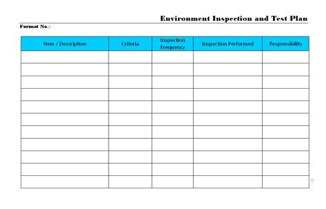 inspection test plan template environment inspection and test plan format sles