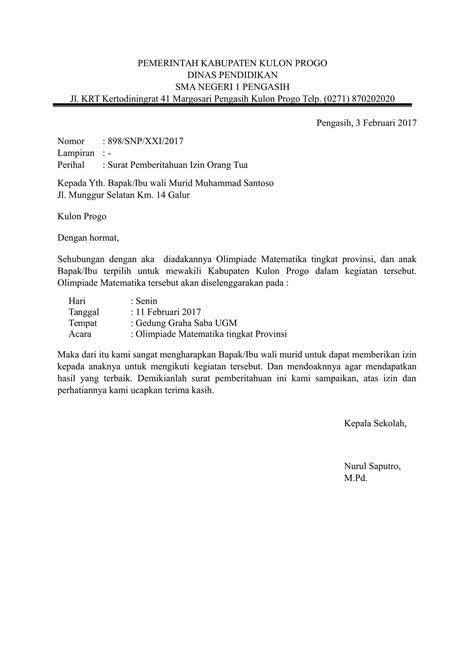 Surat Izin Sekolah by Contoh Surat Izin Siswa Mengikuti Kegiatan Diluar Sekolah