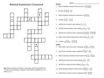 Operations With Rational Numbers Worksheet by Operations With Rational Expressions Crossword Puzzle Tpt