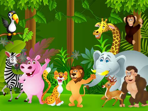 cute zoo wallpaper of the jungle cartoon children s wall mural ohpopsi
