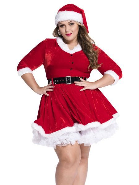 pieces  sleeves  size womens santa outfit red white