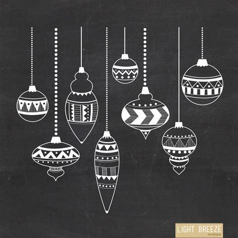 chalkboard christmas ornaments digital clipart vector set