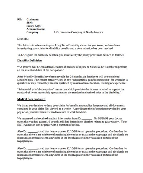 Insurance Claim Rejection Letter Format Sle Claims Letter 6 Documents In Pdf Word