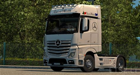 mercedes truck white trans white mercedes actros mp4 skin ets 2 mods