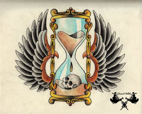 hourglass skull tattoo designs only time will tell colorful traditional hourglass with