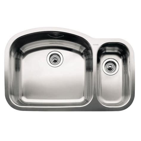 1 1 2 Bowl Kitchen Sink Blanco Wave Undermount Stainless Steel 32 In 1 1 2 Bowl Kitchen Sink 440246 The Home Depot