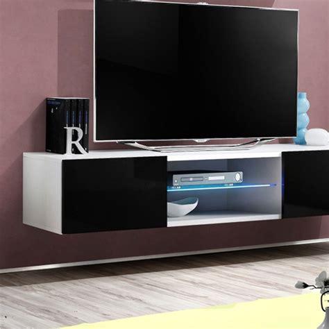 Meuble Tv Mural Blanc by Meuble Tv Mural Design Quot Fly Iii Quot 160cm Noir Blanc