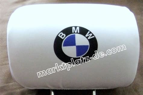 Bmw Headrest Sticker by 2 X Bmw Seat Covers Headrest Covers White Headrests Logo