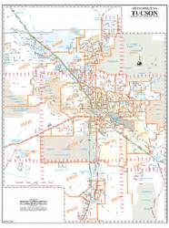 Tucson Arizona Zip Code Map by Tucson Arterial And Collector Streets Zip Code Wall Map By