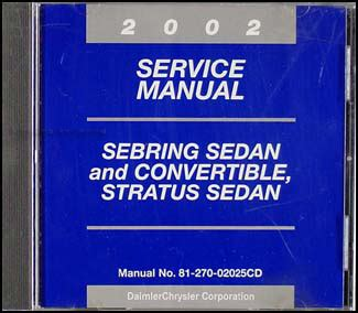 where to buy car manuals 2002 chrysler sebring instrument cluster 2002 cd sebring stratus sedan convertible repair shop manual original
