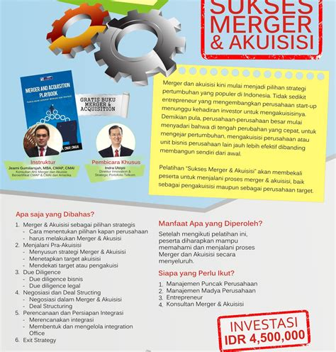 Mba Mergers And Acquisitions Conference by Sukses Merger Akuisisi Informasi Seminar Dan