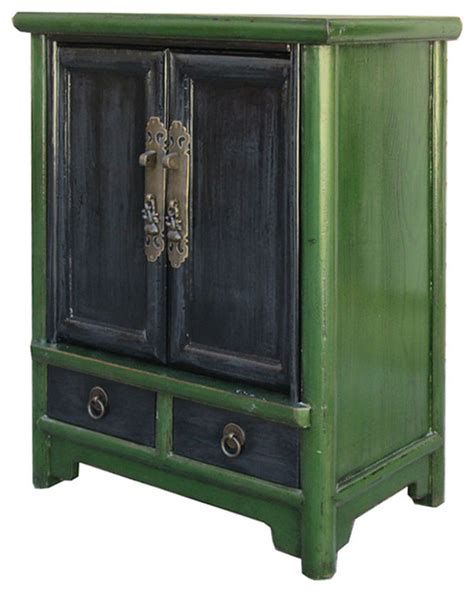 Green Nightstand Table Antique Green Black Nightstand End Table Cabinet