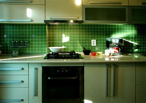 fabulous green glass tile backsplash ideas at modern kitchen olpos design