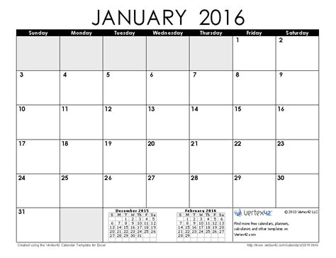 printable calendar january 2016 2016 calendar templates and images