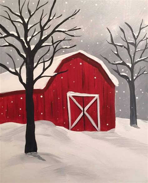 snowy barn from canvas and chardonnay rochester mn