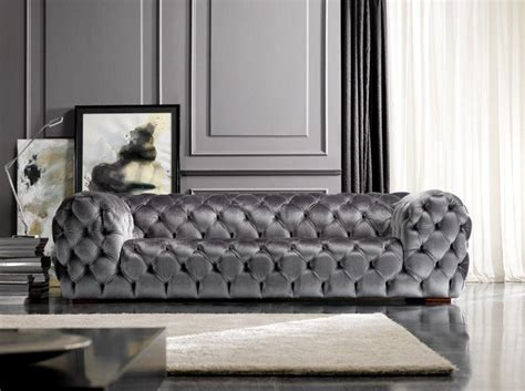 Royale Silver Upholstered Button Tufted Sofa