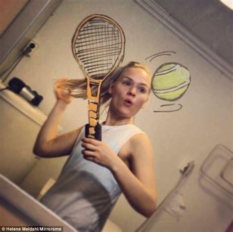 bathroom mirror selfies artist draws on her mirror to create a living cartoon