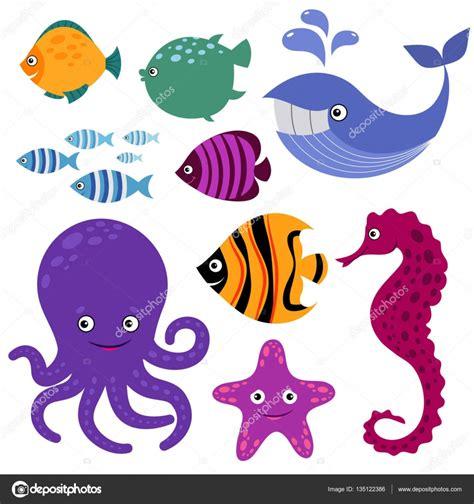 imagenes animales marinos animados criaturas del mar lindo vector animales sonrientes de