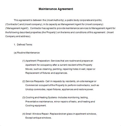 12 maintenance contract templates free word pdf