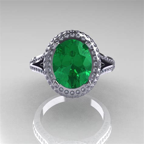 bridal 14k white gold 2 5 carat oval emerald